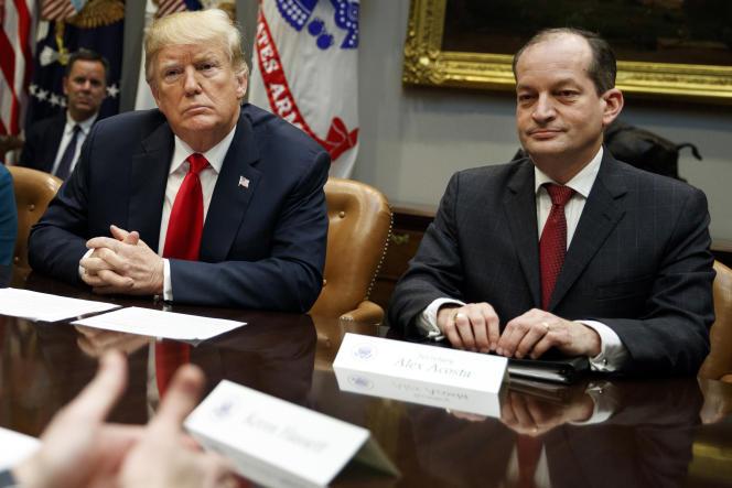 Le président américain Donald Trump et son ministre du travail Alexander Acosta, le 17 septembre 2018 à la Maison Blanche.