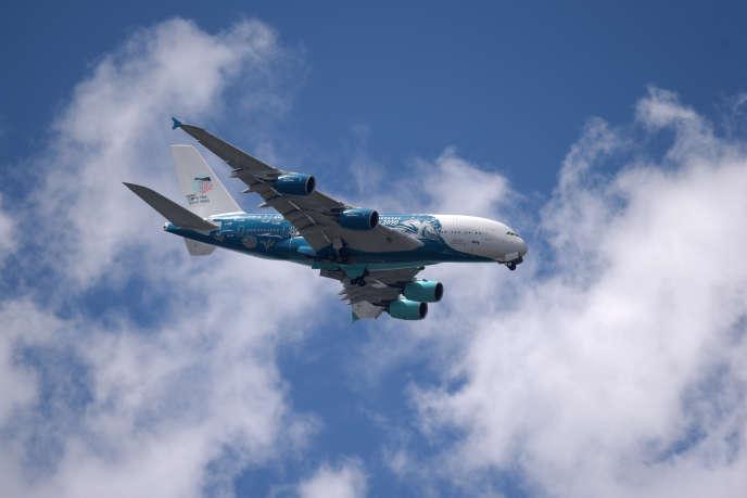 Un Airbus A380 lors du Salon international de l'aéronautique et de l'espace, le 21 juin 2019 au Bourget.