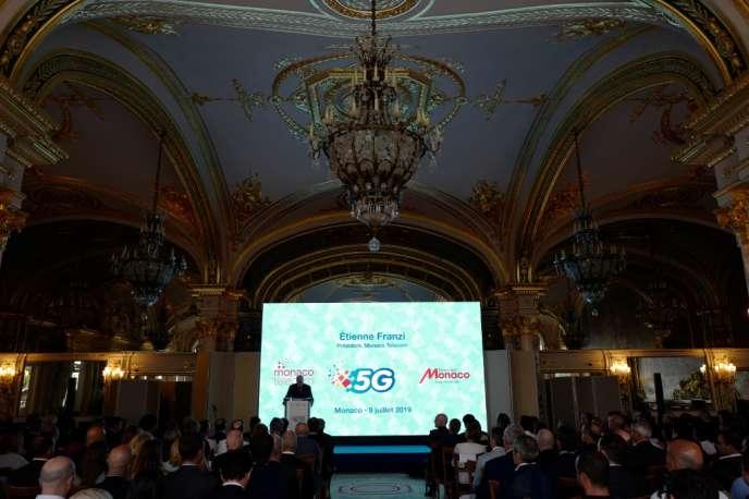 Le président de Monaco Telecom, Etienne Franzi, lors de la conférence de lancement du tout nouveau réseau mobile 5G, àMonaco, mardi 9 juillet.