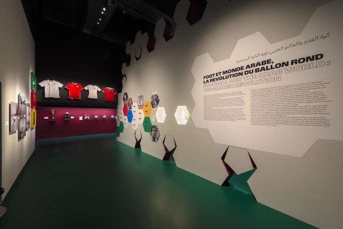 L'entrée de l'exposition« Foot et monde arabe» à l'Institut du monde arabe, à Paris, jusqu'au 21 juillet.