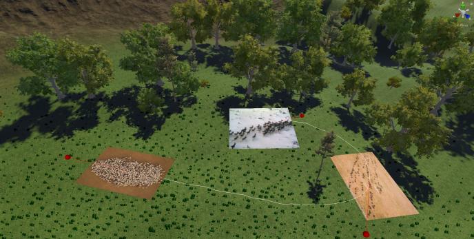 A partir d'images réelles de troupeaux, le système simule un déplacement réaliste des animaux le long d'une trajectoire.