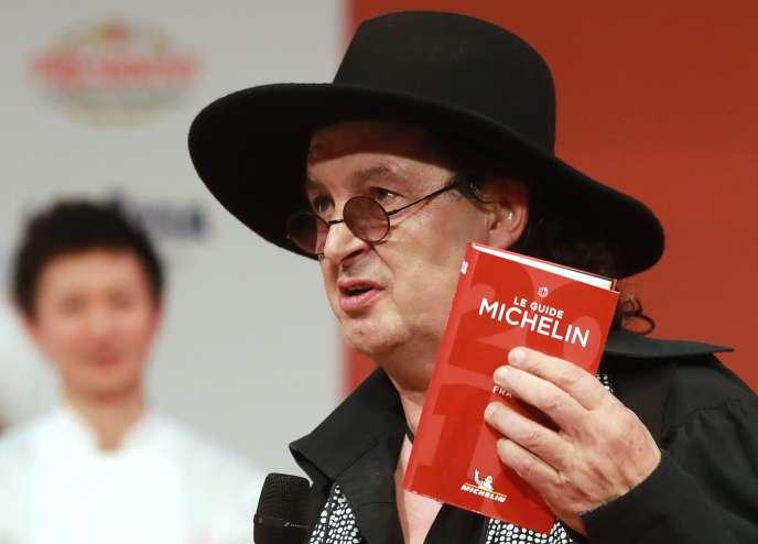 Marc Veyrat, lors de la cérémonie de remise des prix Michelin à La Seine musicale de Boulogne-Billancourt, en février 2018.