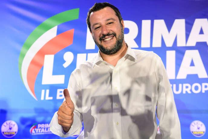 Le député et ministre de l'intérieur italien, Matteo Salvini, lors d'une conférence de presse au siège de la Ligue, après la promulgation des résultats des élections européennes, le 27 mai 2019.