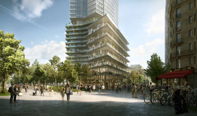 Vue d'artiste du projet de l'équipe emmenée par l'architecte britannique Richard Rogers, choisi pour le nouveau quartier Montparnasse, à Paris.