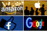 Les logos des principaux géants du numérique : Amazon, Apple, Facebook et Google.