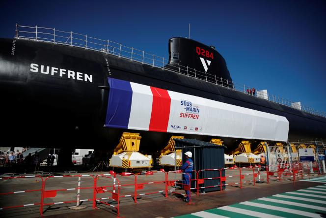 Le sous-marin « Suffren», présenté le 5 juillet à Cherbourg.