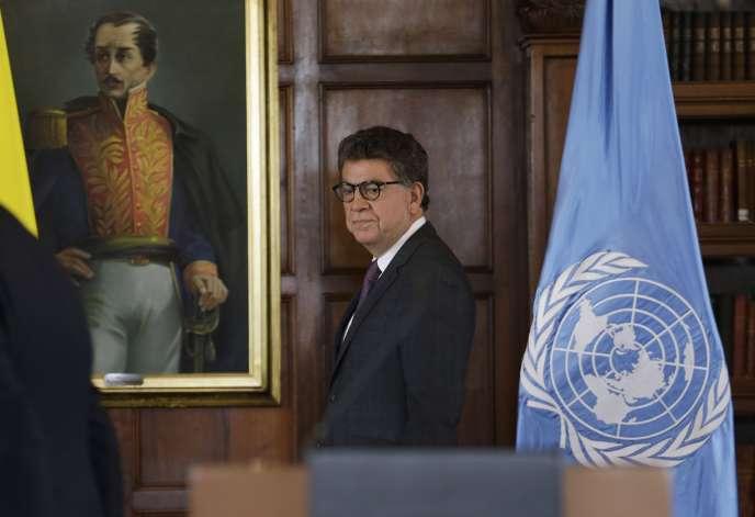 L'ambassadeur péruvien et président du Conseil de sécurité de l'ONU,Gustavo Meza-Cuadra, après une conférence à Bogota, le 12 juillet 2019.