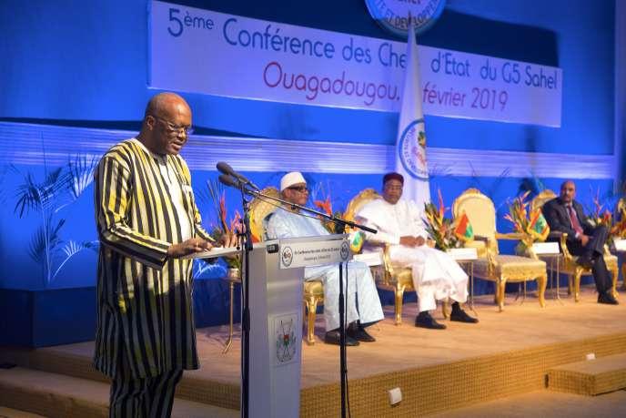 Le sommet du G5 Sahel, le 5 février 2019 àOuagadougou, au Burkina Faso. De gauche à droite, les dirigeants du Burkina Faso, Roch Marc Christian Kabore, du Mali, Ibrahim Boubacar Keita, du Niger, Mahamadou Issoufou, et de Mauritanie, Mohamed Ould Abdel Aziz.