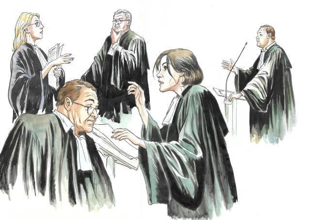 Les avocats de la défense du procès France Télécom, le 11 juillet au tribunal de Paris.