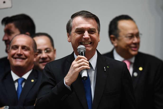 Le président brésilien Jair Bolsonaro, après le vote de la réforme des retraites au Parlement, le 10 juillet 2019.