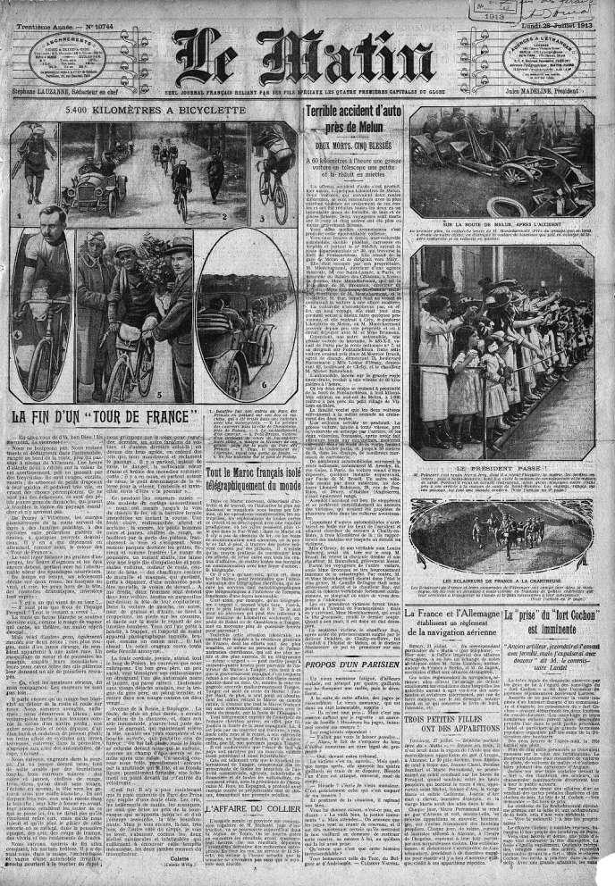 La « une » du journal « Le Matin » daté du lundi 28 juillet 1913.