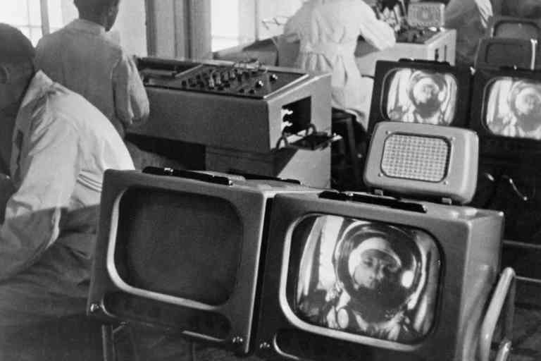 Mission Control  researchers watching Yuri Gagarin's condition in space. A shot from the documentary film The First Flight to the Stars.