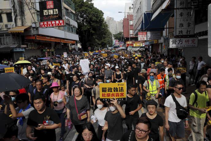 Des manifestants opposés aux« commerçants parallèles» à Hongkong, le 13 juillet 2019.