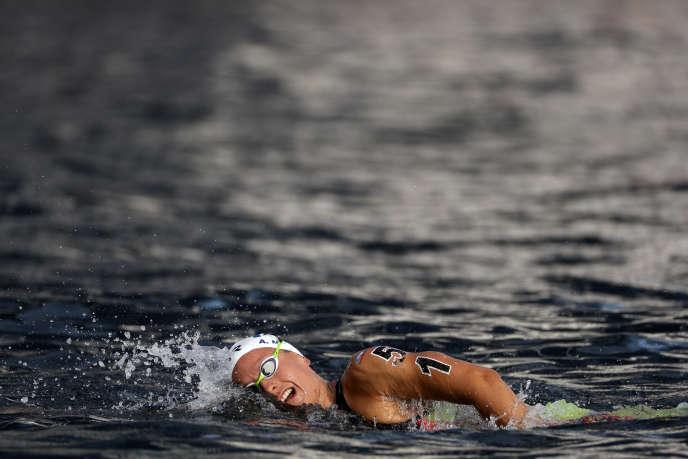 Aurélie Muller lors des mondiaux de natation, à Yeosu (Corée du Sud), dimanche 14 juillet.
