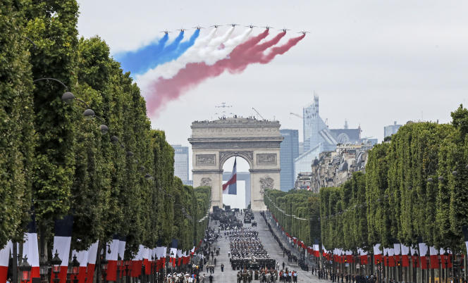 During the military parade of National Day in Paris on July 14, 2019, the route of the Bruil de France above the Champs-Elysees.