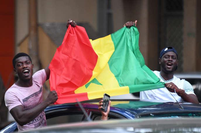 A Dakar, le 14 juillet 2019, après la victoire des Lions de la Teranga sur la Tunisie, 1-0, lors de la dmei-finale de la CAN en Egypte.