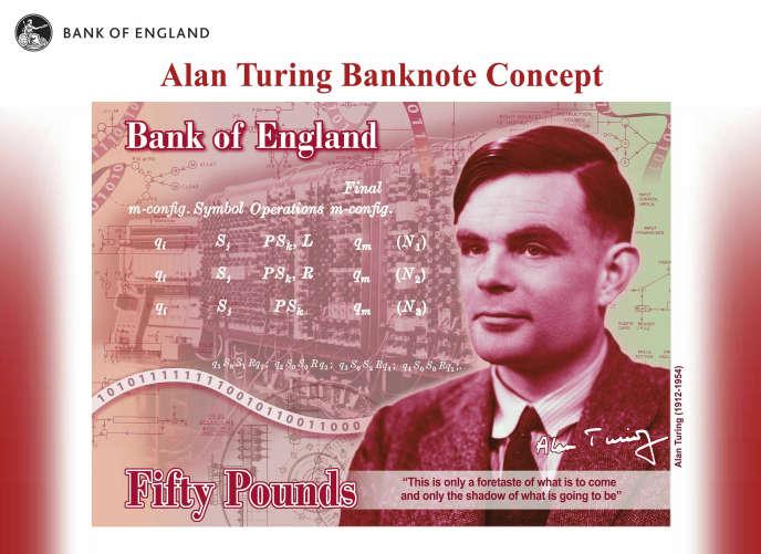 Le portrait d'Alan Turing qui ornera les nouveaux billets de 50 livres au Royaume-Uni.
