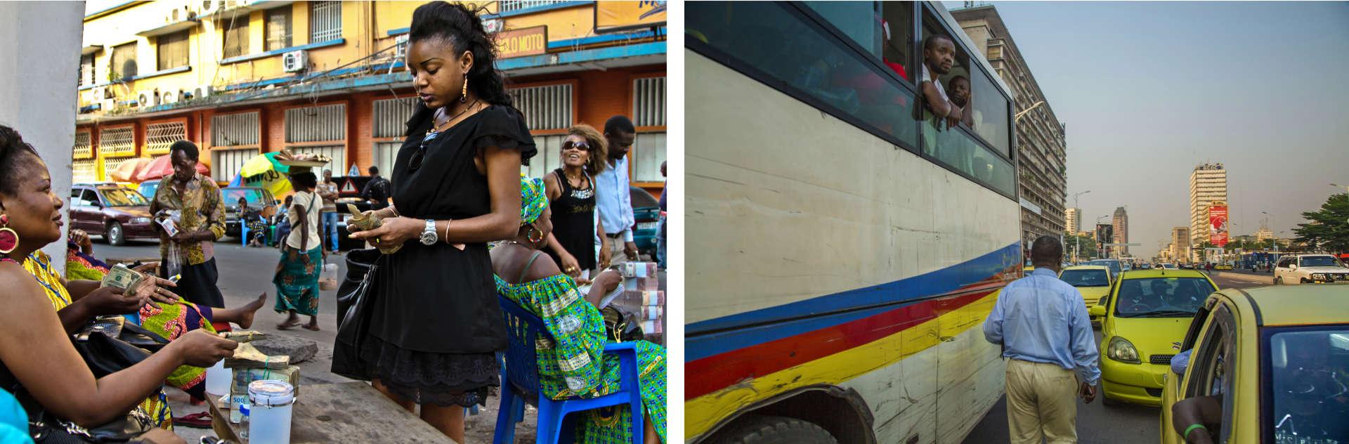Le 10 juin. Dans les rues de La Gombe, vers la gare centrale. «Tout est possible à Kinshasa», répètent ses habitants. Surtout ceux de la Gombe, la «ville».Une jeune femme échange ses dollars pour des francs congolais (en bas, à gauche) et la circulation sur le grand boulevard (en bas, à droite).