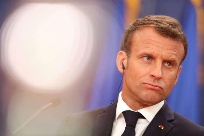 Le président Emmanuel Macron lors de savisite officielle en Serbie,le 15juillet.