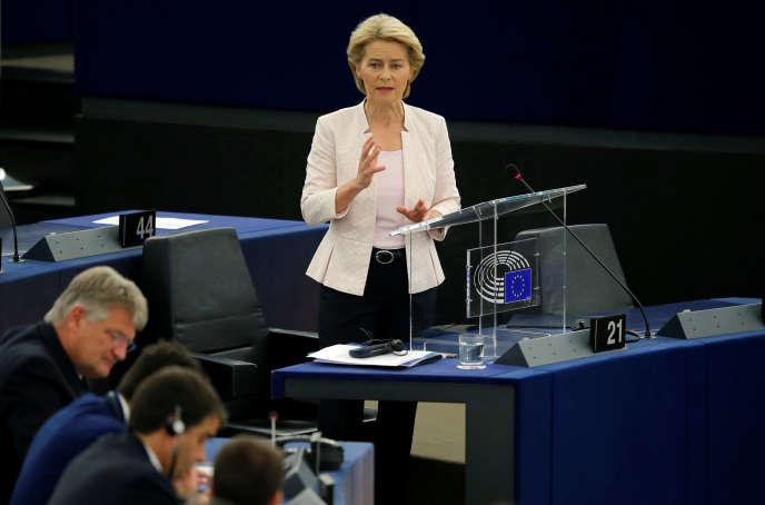 L'Allemande Ursula von der Leyen lors de son discours devant le Parlement européen mardi 16 juillet.