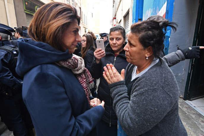 Martine Vassal (à gauche), la présidente de la métropole Aix-Marseille-Provence et du conseil départemental des Bouches-du-Rhône, le 29 novembre, à Marseille.