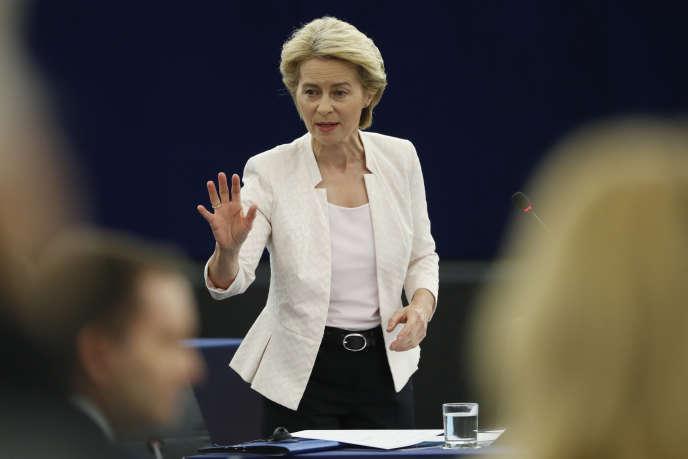 Ursula von der Leyen, le 16 juillet au Parlement européen de Strasbourg.