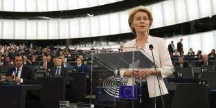 German former Defence Minister and newly-appointed EU commission Ursula von der Leyen delivers a speech during her statement for her candidacy for President of the Commission at the European Parliament on July 16, 2019 in Strasbourg, eastern France. / AFP / FREDERICK FLORIN