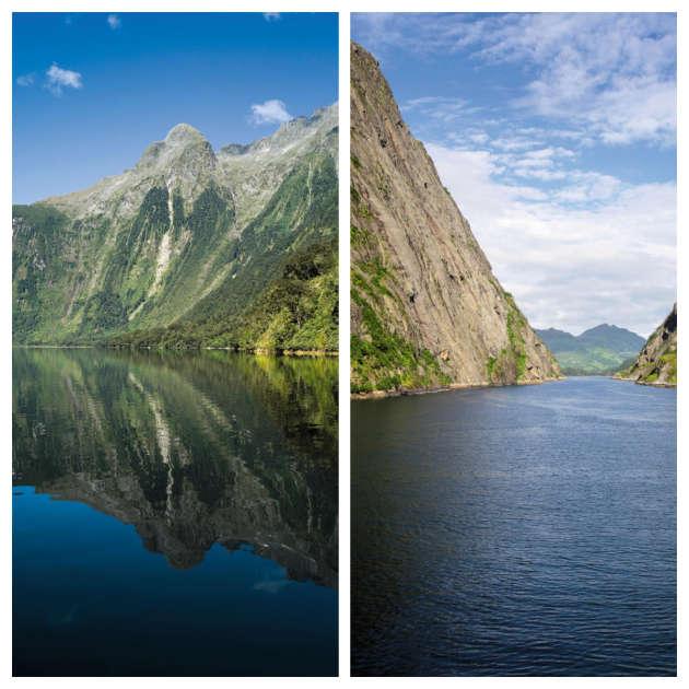 A gauche, le fjord de Doubtful Sound, en Nouvelle-Zélande.A droite, le Trollfjord, dans le nord-ouest de la Norvège.