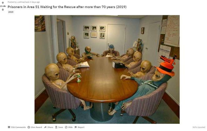 «Prisonniers de la zone51, bientôt libres après 70 ans d'attente» – photo légendée par un utilisateur de Reddit.