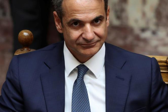 Le premier ministre grec Kyriakos Mitsotakis, le 17 juillet au Parlement à Athènes.