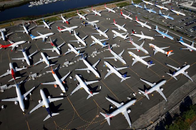 Des dizaines de Boeing 737 Max cloués au sol au Boeing Field de Seattle, le 1er juillet 2019.
