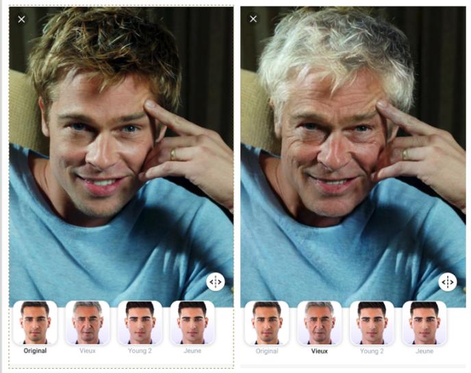 Exemple d'utilisation du filtre« vieux» de l'application FaceApp, sur une ancienne photo de Brad Pitt.