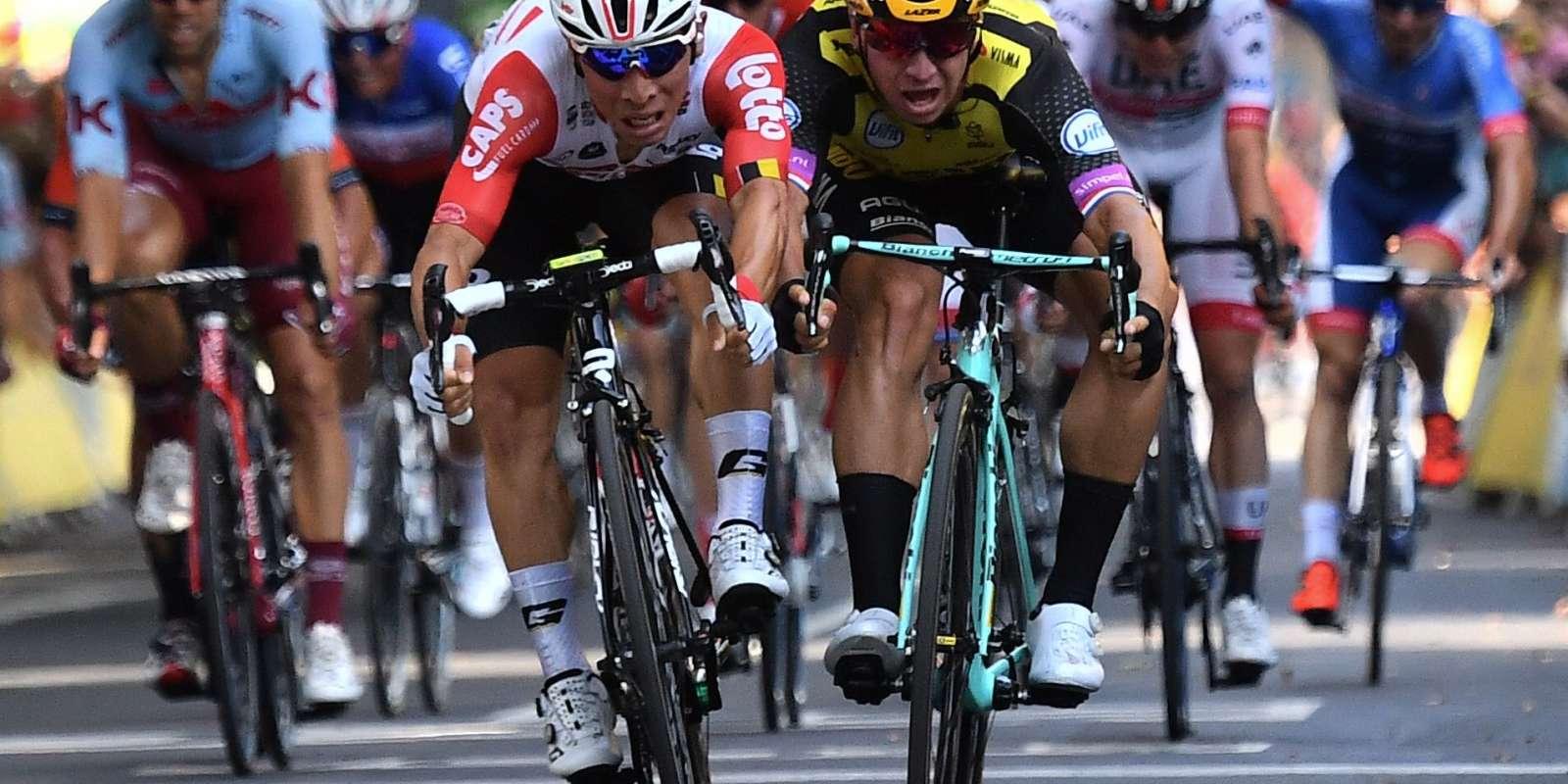 Caleb Ewan (à gauche) s'est imposé à Toulouse devant Dylan Groenewegen.