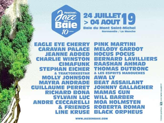 Affiche du festival Jazz en baie, dans plusieurs communes du département de La Manche.