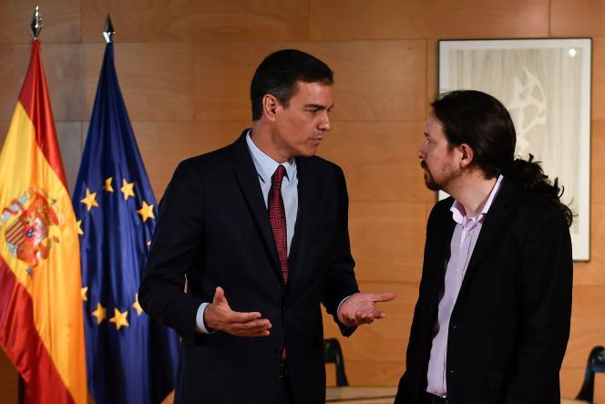Pedro Sanchez et Pablo Iglesias à Madrid, le 9 juillet.