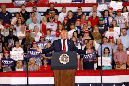 Donald Trump lors du meeting de Greenville, en Caroline du Nord, mercredi 17 juillet.