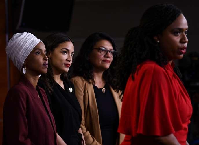 Ilhan Omar, Alexandria Ocasio-Cortez, Rashida Tlaib et Ayanna Pressley, le 15 juillet, lors d'une conférence de presse à Washington.