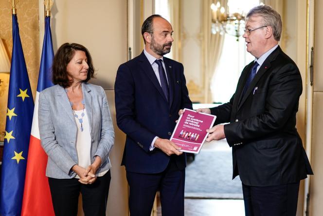 Agnès Buzyn, ministre des solidarités et de la santé, Edouard Philippe, premier ministre, et Jean-Paul Delevoye, haut-commissaire à la réforme des retraites, à Paris, le 18juillet.