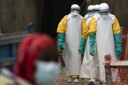 Du personnel médical d'un centre de traitement d'Ebola, à Béni, en RDC, le 16 juillet.