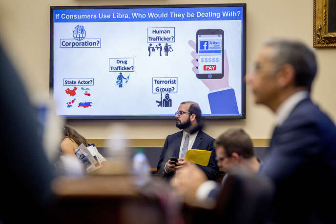 David Marcus (in the foreground), the head of the digital currency of Facebook, libra, auditioned before the Finance Committee in Washington, July 17.