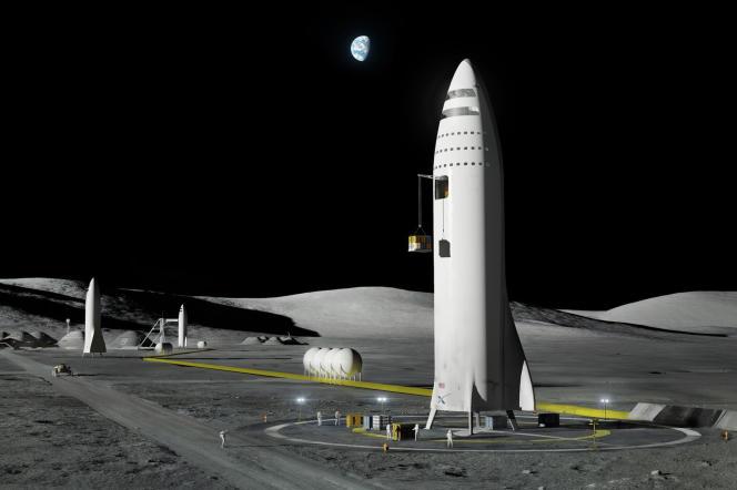 Vue d'artiste de la fusée développée par la compagnie américaine SpaceX, en septembre 2017.