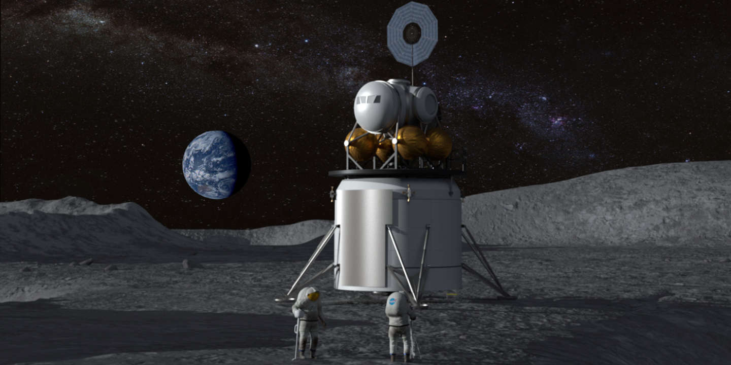 Artist's concept of a human landing system and its crew on the lunar surface with Earth near the horizon. Credits: NASA