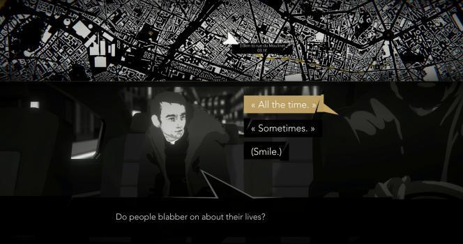 Dans« Night Call », les clients sont systématiquement intéressants - et bavards. Et contrairement à cette capture d'écran promotionnelle : le jeu est bien disponible en français.