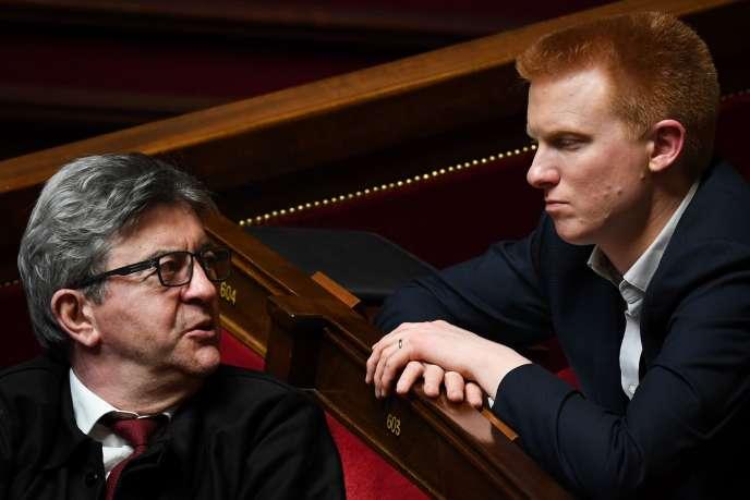 Jean-Luc Mélenchon et Adrien Quatennens à l'Assemblée nationale à Paris, le 2 avril.