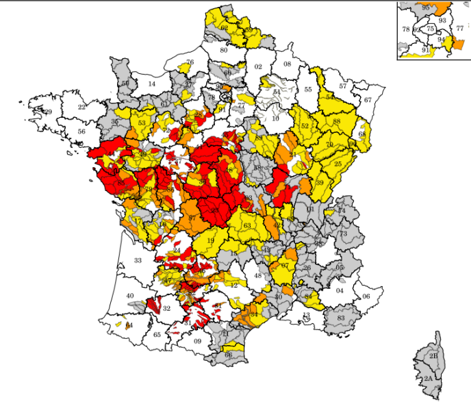 Arrêtés de limitation des usages de l'eau au 19 juillet 2019 (rouge: niveau«crise»; orange:«alerte renforcée»; jaune:«alerte»; gris:«vigilance»).