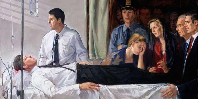 Sur la toile « Death of an American President JFK» de Sam Adoquei, on reconnaît le chanteur des Strokes Julian Casablancas, en uniforme de policier.