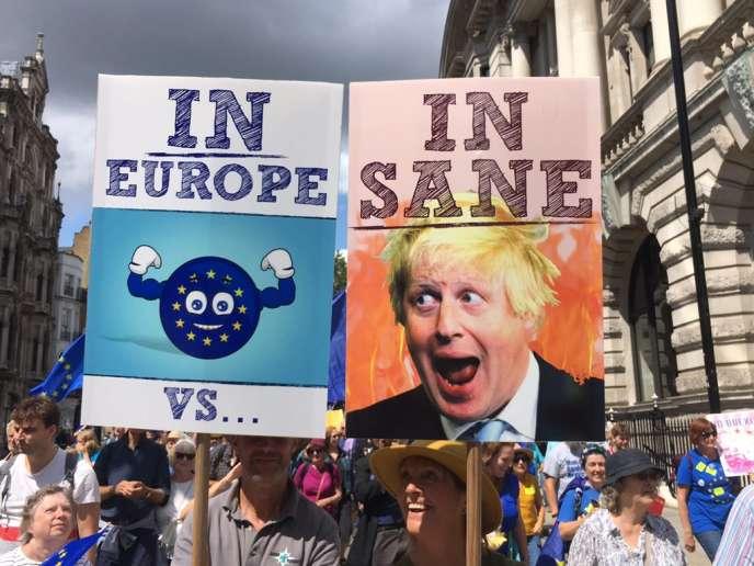 « IN Europe » (« dans l'Europe») ou« INsane » (« dingue »), proposent ces pancartes brandies par des manifestants à Londres, le 20 juillet.