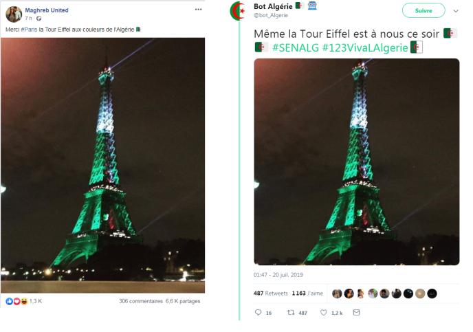 Exemples de messages affirmant que la tour Eiffel s'est illuminée aux couleurs de l'Algérie.