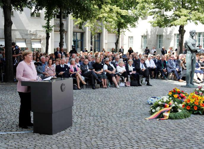 La chancelière allemande, Angela Merkel, lors de la célébration en hommage aux instigateurs de l'opération« Walkyrie», à Berlin, le20 juillet.