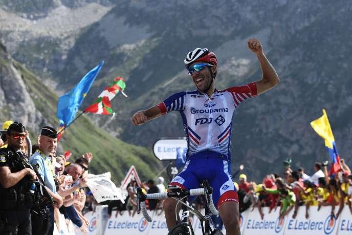 Thibaut Pinot célèbre sa victoire au Tourmalet, le 20 juillet 2019, lors de la 106e édition du Tour de France.